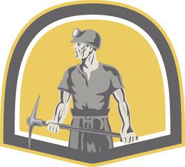 Coal Miner Standing Holding Pick Axe Shield Retro