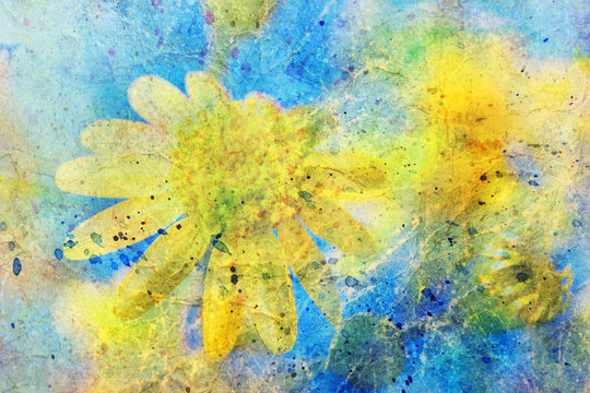 Sunny yellow flower and messy watercolor splatter
