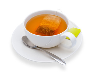 Cup of tea with tea bag, isolate on white