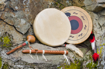 Native American Drums, Flute and Shaker.