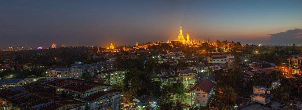 View at dawn of the Shwedagon Pagoda, Yangoon, Myanmar