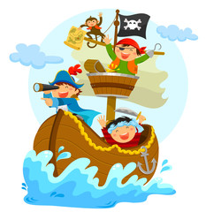 happy pirates sailing in their ship