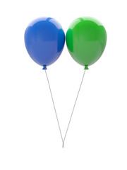 Two 3d balloons isolated on white background