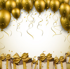 Celebrate golden background with balloons.