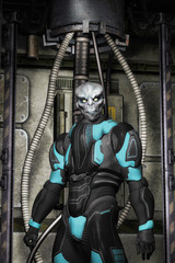 Wall Mural - Alien warrior in spacesuit