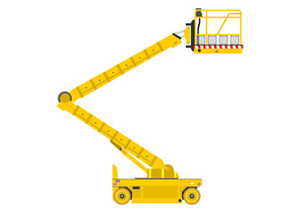 Self propelled scissor lift isolated on white background.