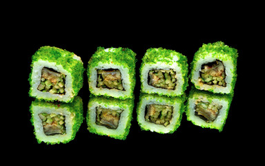 rolls with caviar on black background with mirror reflection