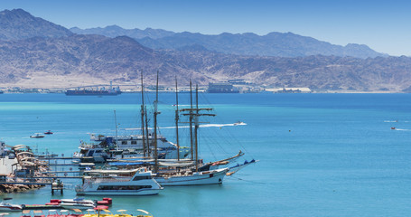 Marina and moored yachts in Eilat, Israel