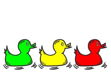 farbiger Entenreihe...