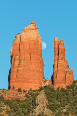 Red Rock Spires and Moon