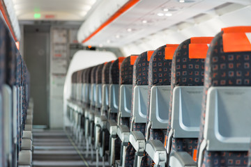 Modern interior of airplane