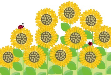 ひまわりとてんとう虫の夏のPOPカード