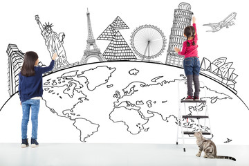 two girl kids drawing global map and famous landmark