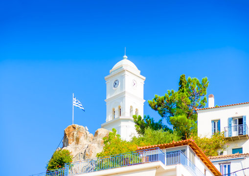 The famous belltower in the capital of Poros island in Greece
