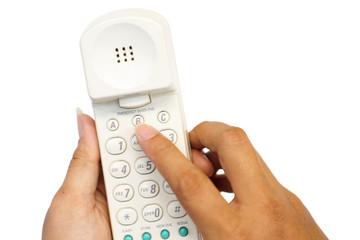 Hand holding a phone make emergency call.