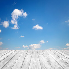 Fototapete - Sky-background with white wood