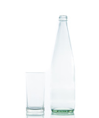 Bottle and Glass water clear isolate