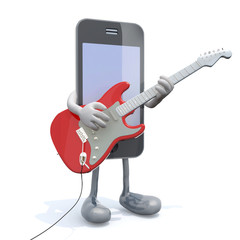 smartphone with arms and legs that play electric guitar