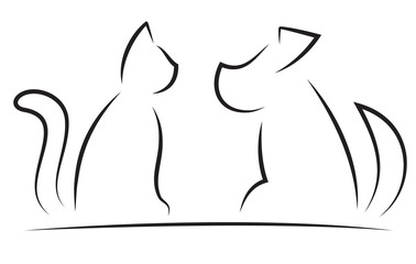 Cat and Dog Contour Simplified Silhouettes
