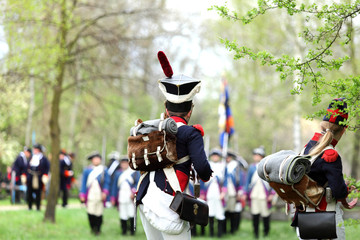 Obraz Żołnierze Napoleona w bitwie. - fototapety do salonu