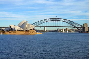 Foto op Textielframe Australië The Sydney Harbour Bridge and Opera House