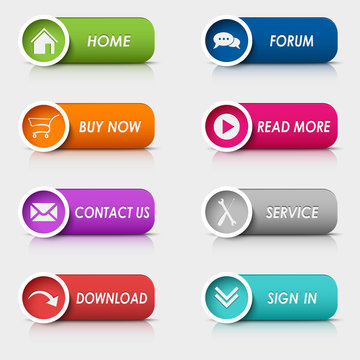 Colored set rectangular web buttons