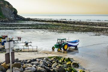 Wall Mural - Fishing boat returning on beach, Cap Gris Nez, France
