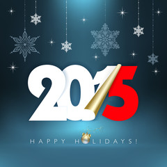 2015 new year. Happy holidays with snowflakes.