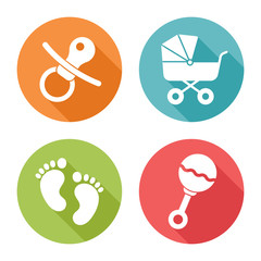 Baby icons, flat design