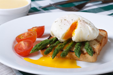 Toast with asparagus and poached egg on a white plate.