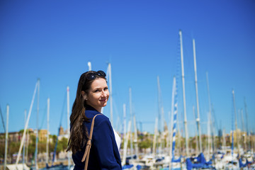 Woman tourist in harbor