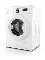 Modern washing machine isolated on white background. 3D