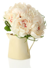 Beautiful wedding bouquet in vase isolated on white