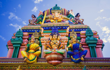Facade of a Hindu temple in Sri Lanka with sculptures of deities