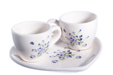 a two cups of coffee on white background