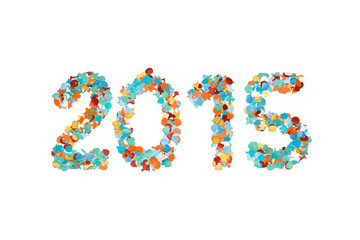 Carnival 2015 confetti and outline isolated