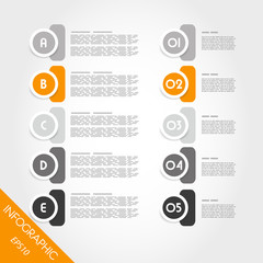 orange infographic circles with numbers and letters