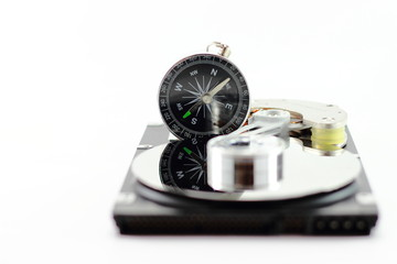 harddisk and compass