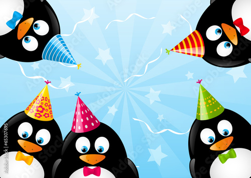 Birthday Card With Funny Penguins Stock Image And Royalty Free