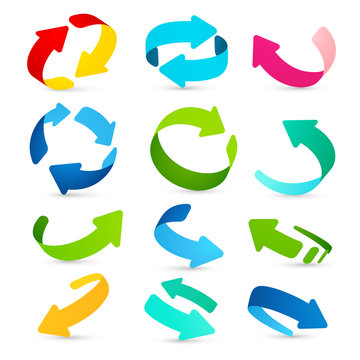 Set of colored arrows icons. Vector