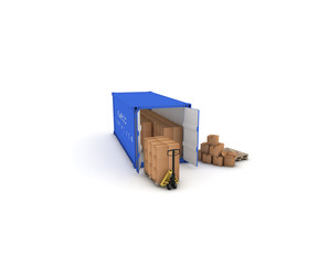 container blu con pacchi e tranpallet