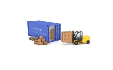 container blu con muletto e pacchi