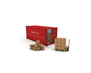 container rosso con pacchi e tranpallet 3