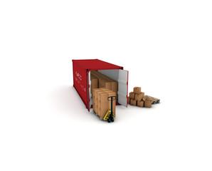 container rosso con pacchi e tranpallet