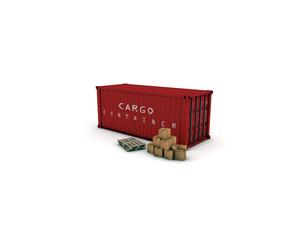 container rosso con pacchi e pallets 2