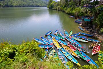 Poster Nepal Colorful boats on Phewa Lake, Pokhara, Nepal