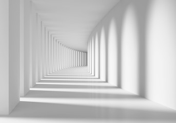 Biały korytarz 3D