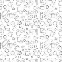 hand drawn circles, squares, triangle, doodle background