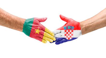 Handshake Kamerun und Kroatien