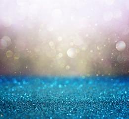 gold and blue boke lights or defocused lights background
